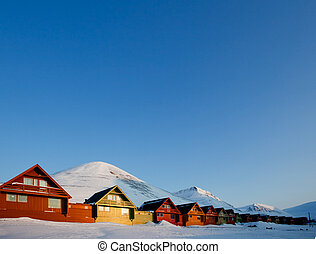 Longyearbyen Sunset - Sunset on Longyearbyen, Norway, the...