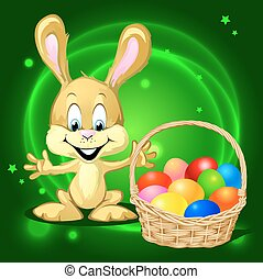 Easter bunny with a basket full of colorful eggs on green...