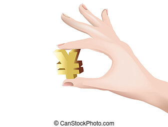 Chinese currency symbol - female hand squeezes the Chinese...