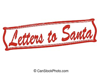 Letters to Santa - Stamp with text letters to Santa inside,...