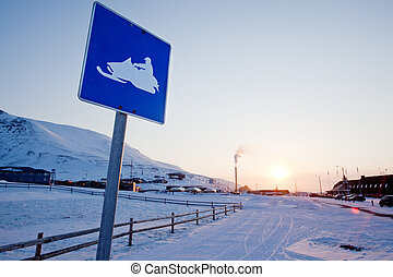 Snowmobile Sign Svalbard - A snowmobile sign in...