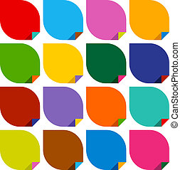 set of 16 blank stickers with bent colored angles. Vector...