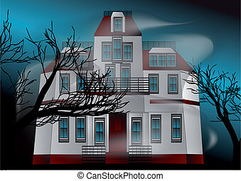 haunted house whith fog and dark trees