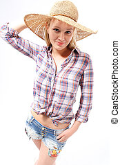 Woman in a hat - Young girl in a straw hat, protect yourself...