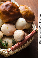 Ceps in the basket prepared for cooking on the table
