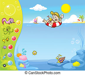 Summer holiday website design with funny background
