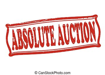 Absolute auction - Stamp with text absolute auction inside,...