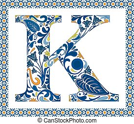 Blue letter K - Blue floral capital letter K in frame made...