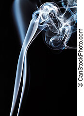White smoke on black background. To be used as background.