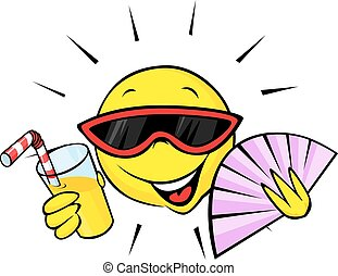 summer sun with fan and orange drink - cartoon illustration...