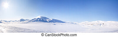 Winter Landscape - A winter landscape on Spitsbergen Island,...