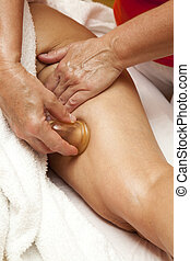 Anti cellulite massage Ventuza - Woman receiving a...
