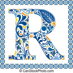 Blue letter R - Blue floral capital letter R in frame made...