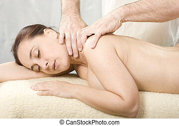 osteopathy and massage - Relaxing nice lady having a massage...