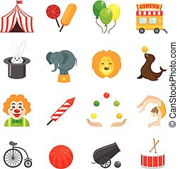Circus Icons Set - Circus caravan rabbit elephant tricks and...