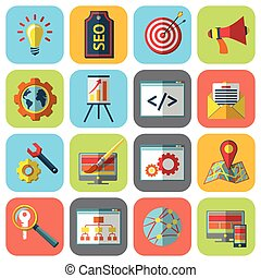SEO icons set - SEO mobile computer website optimization...