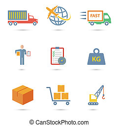 Logistic icons flat - Logistic freight service icons set of...