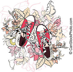 Gumshoes sketch flower - Pink casual canvas skateboard...