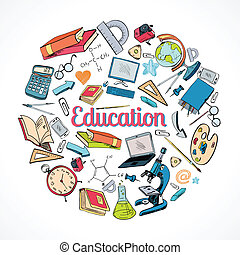 Education icon doodle - School education concept with doodle...