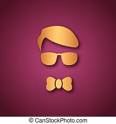 Boy with sun glasses over pink