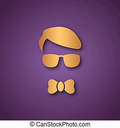 Boy with sun glasses over purple