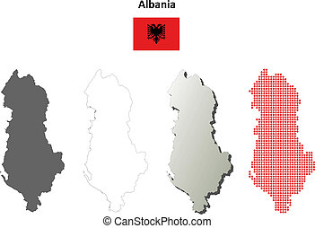 Albania blank outline map set