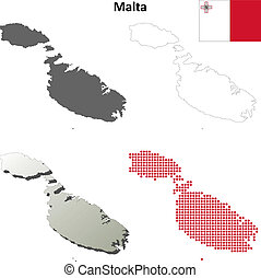Malta blank outline map set