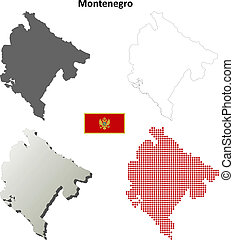 Montenegro blank outline map set