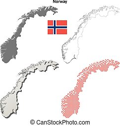 Norway blank outline map set