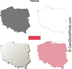 Poland blank outline map set