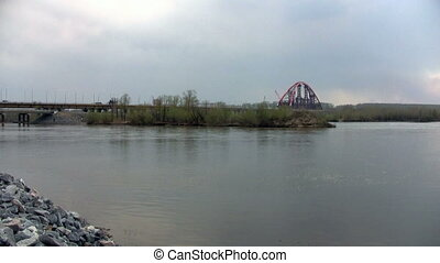 Construction of a new bridge on the river Ob