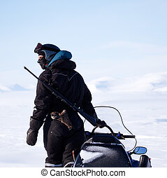 Arctic Guide - An arctic guide equiped with a rifle, looks...