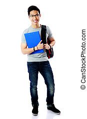 Full length portrait of a student with backpack and notebook...
