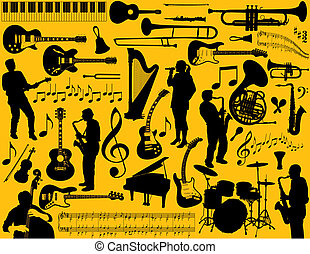 music elements  - Vector music elements on yellow background