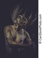 Guard, golden deity, man with wings and gold helmet