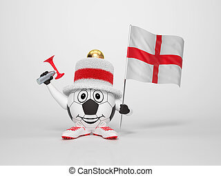 Soccer character fan supporting England