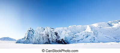 Glacier - A glacier panorama from the island of Spitsbergen,...