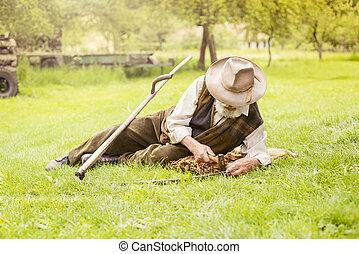 3º edad, guadaña, granjero