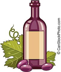 Red wine bottle with grapes and green leaf