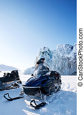 Winter Snowmobile Landscape - A glacier detail on the island...