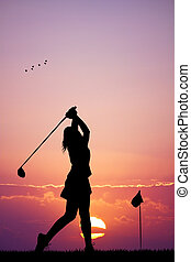 golf at sunset - illustration of golf at sunset