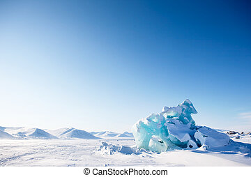Glacier Landscape - A glacier on the coast of Spitsbergen,...