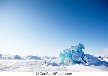Glacier Landscape - A glacier on the coast of Spitsbergen,...
