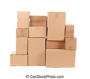 Cardboard boxes. Isolated on a white background.