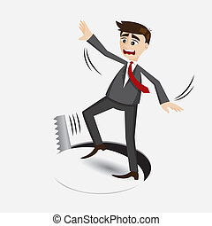 cartoon businessman falling in hole - illustration of...