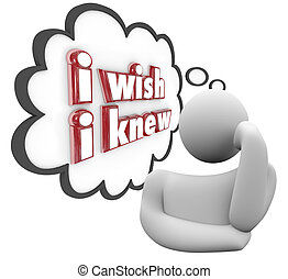 I Wish I Knew words in a thought cloud above or next to a...
