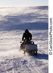 Svalbard Adventure - A man sitting on a snowmobile on a...