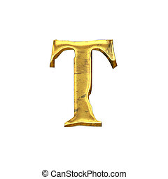 High quality old shining Letter T Isolated on a white...