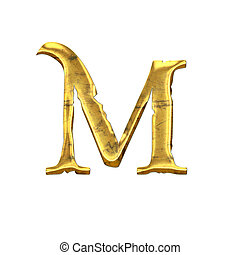 High quality old shining Letter M. Isolated on a white...