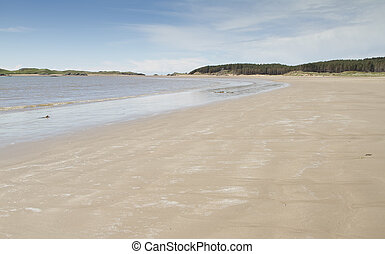 Sandy beach at Newborough in Anglesey, North Wales